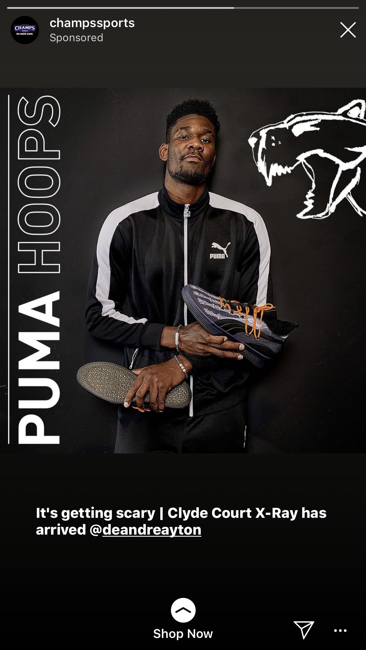 Instagram Story Ad - Puma Hoops Deandre Ayton - Brand Photography